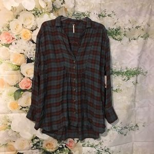 Free People All About The Feels plaid top size S